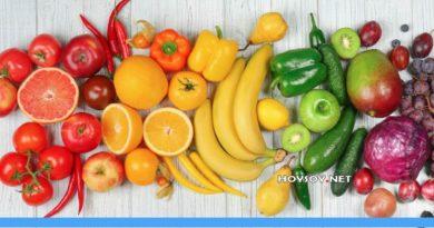 Buenas Nutrición con colores frutas y verduras