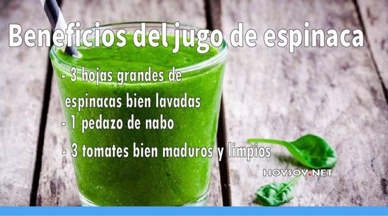 Beneficios del jugo saludable de espinaca