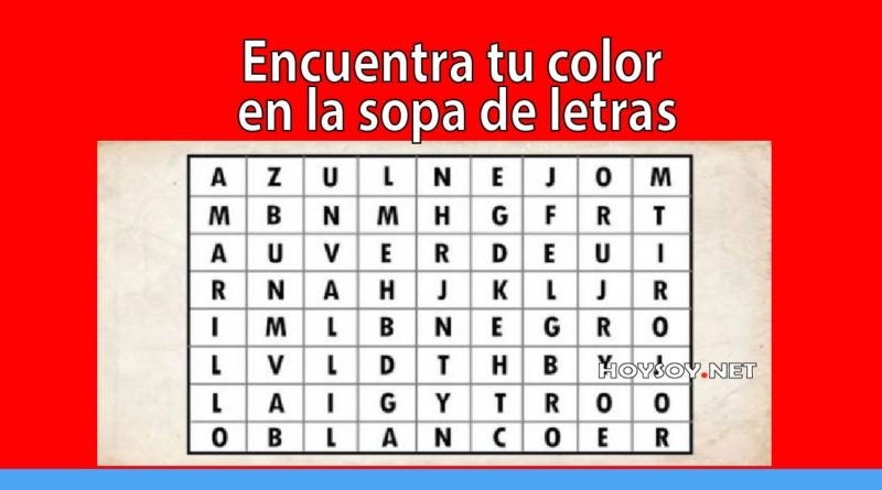 Encuentra tu color en la sopa de letras