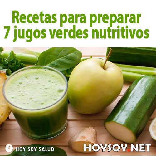 Recetas para preparar 7 jugos verdes nutritivos